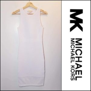 Michael Kors white ribbed bodycon tank dress